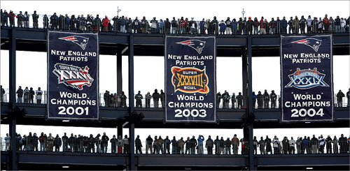 Fans gathered on the bridges between the championship banners at Gillette Stadium to watch the Patriots and Chargers AFC Championship game on Jan. 20.