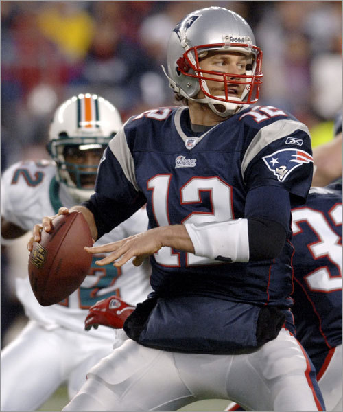 Tom Brady, Matt Cassel, Matt Gutierrez All eyes will be on Brady's mild high right ankle sprain to see if it affects his play. The right foot is important for any righthanded quarterback when dropping back to pass, because it serves to break the drop, with the quarterback pushing off it. It is less of a factor in the shotgun and Brady (pictured) could find himself there most often in the Super Bowl. Brady is coming off a three-interception performance in the AFC Championship game, a performance in which several of his throws were off the mark, and he's had redemption on his mind. Part of Brady's excellence is his ability to diagnose rush schemes before the snap and help set the pass protection. He'll face a big challenge from the pressure-oriented Giants.