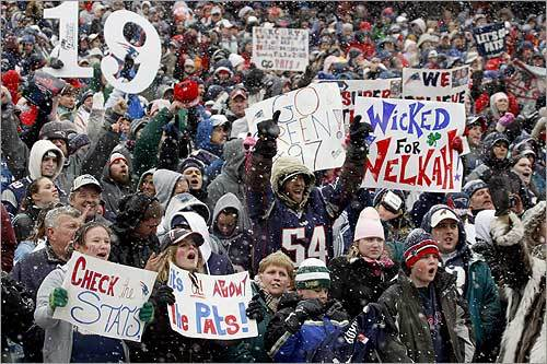 Despite the snowy weather, more than 15,000 fans cheered at Gillette Stadium. 'Now this is the Foxborough faithful right here,' Brady said. 'We could just play the game today.'
