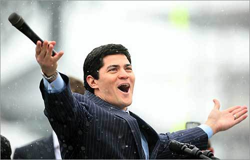 Tedy Bruschi cheered with fans during the New England Patriots Super Bowl send-off. 'This never gets old for us,' Bruschi said.