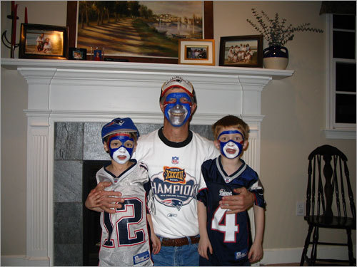Patrick & Devin and their uncle Allan, of Andover, were watching a Pats game when this photo was snapped.
