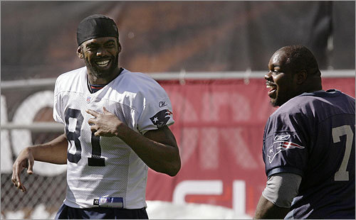 Patriots wide receiver Randy Moss and defensive tackle Vince Wilfork talked - and laughed - before practice.