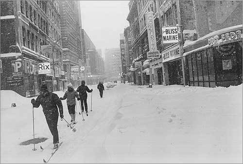 The next time you start whining about a few inches of snow, ask someone who lived through the Blizzard of '78 to tell you about the storm that dumped up to 4 feet in places and took lives, made sidewalks impassable for days, stranded cars, and destroyed homes. It happened 30 years ago this week. At left, skiers on Summer Street in Boston Feb. 6, 1978, the day the blizzard began.