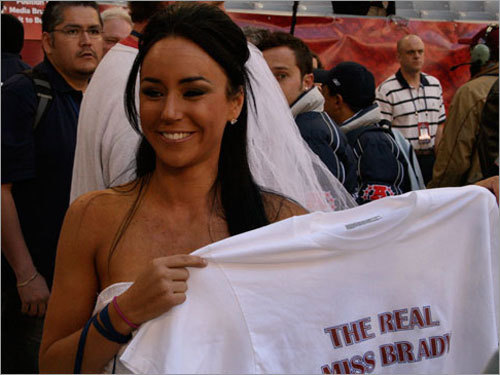Mexico City broadcaster Ines Gomez Mont shows off her 'The Real Miss Brady' T-shirt.