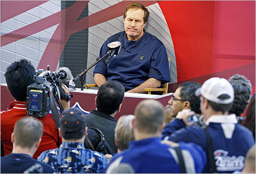 Belichick met the press but didn't appear to enjoy himself at all times.