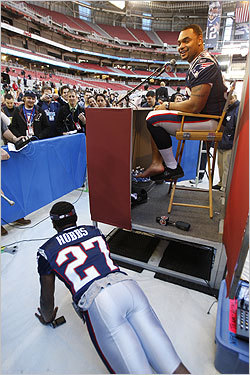 Cornerback Ellis Hobbs lost a bet to teammate Richard Seymour and had to pay up, with a series of push-ups.