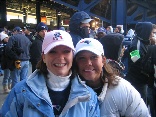 Katy and Robyn had a bunch of fun at the Patriots game.