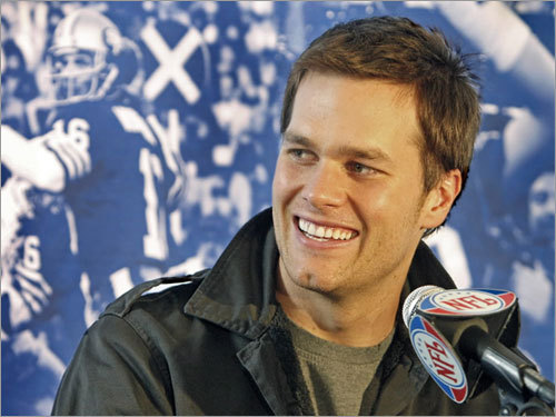 The Patriots had a media availability Wednesday morning at the team's hotel, the Westin Kierland Resort and Spa. Quarterback Tom Brady took questions from a raised table, behind which was a montage of black and white photographs of past Super Bowl MVPs, including one over his shoulder of his boyhood hero, quarterback Joe Montana of the San Francisco 49ers.