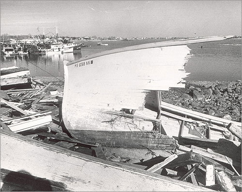 This broken bow of another fishing boat was all that remained after it was driven ashore in Scituate Harbor.