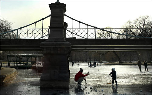 Jeff Kerrigan of Boston played hockey with his son, Jack, 3, under the footbridge that spans the frozen pond in the Boston Public Garden.