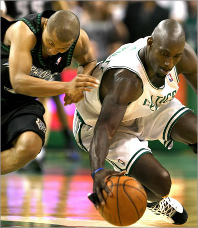 Boston Celtics forward Kevin Garnett stole the ball from Minnesota Timberwolves guard Sebastian Telfair (a former Celtic) as time expired, giving the Celtics a nail biting 87-86 victory.
