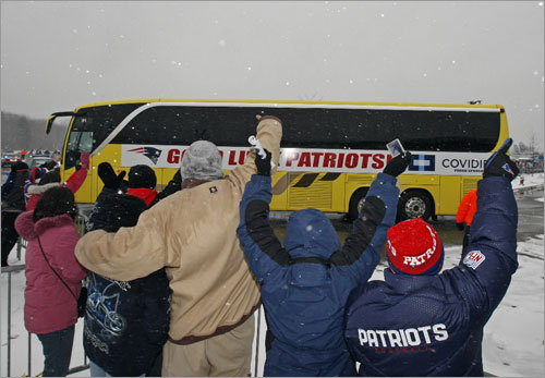 New England Patriots fans outside of Gillette Stadium waved goodbye to their team as they headed to the airport for a flight to Arizona and the Super Bowl.