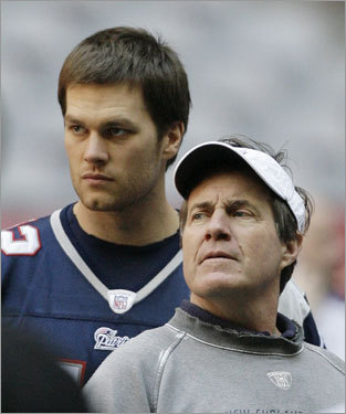 Tom Brady (left) stood with coach Bill Belichick.