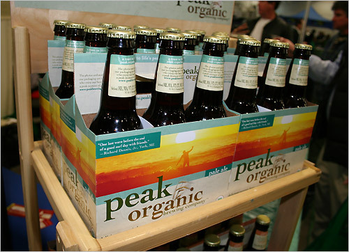 Peak Organic produce three types of beer, a pale ale, left, a nut brown ale, and an amber ale. In the spring the company will unveil a fourth, their maple oat ale, a beer brewed in 250 gallon tanks that is comprised entirely of New England ingredients, including organic maple syrup.