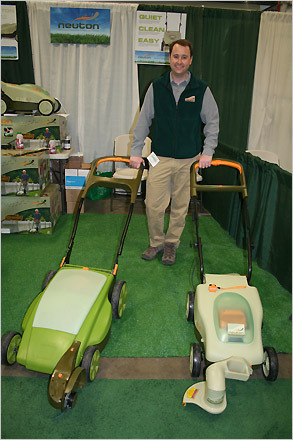 Tom Hughes of Vergennes, Vt. based Neuton Power models two battery-powered lawnmowers. The plastic mowers, which retail for $399 and $499, make less than half the noise of a regular gas-powered machine.