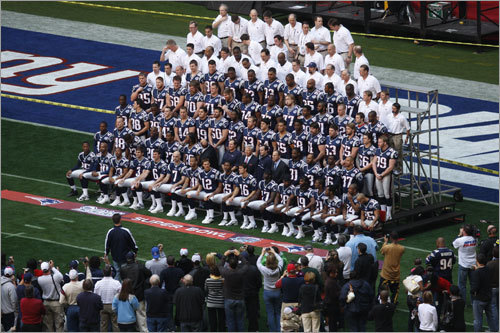 A bird's eye view of New England's team picture.
