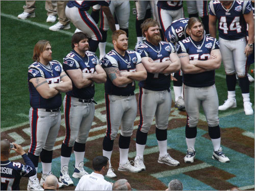 The offensive line stepped out for a picture.