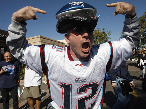 'Nineteen and 0, baby! Nineteen and 0! We're going all the way, baby! Yeah Patriots,' yelled fan Joe Melisi, of Oxford, during a WEEI Radio Block Party on the eve of Super Bowl XLII.