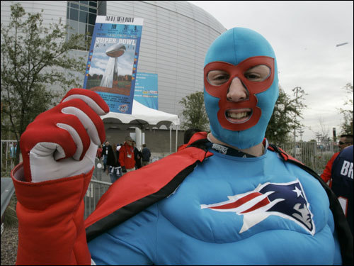 Captain New England, also known as Derek Shanahan of Rockland, displayed a Super Bowl XLII ticket outside University of Phoenix Stadium.