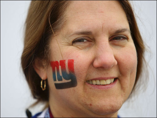 Giants fan Angel Javarone smiled before the Super Bowl.