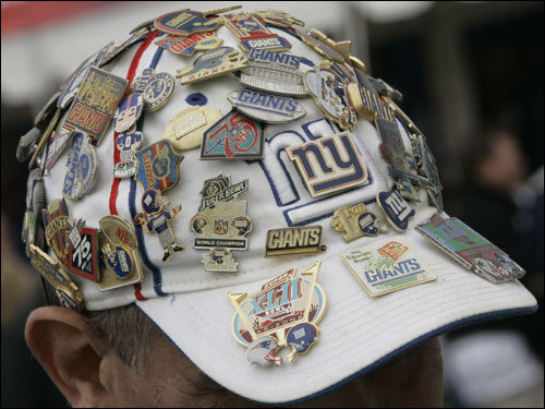 Ken Angel, of Bethlehem, Conn., wore a hat covered with pins.