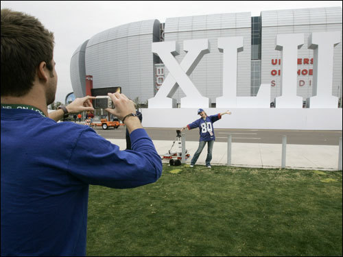Giants fans took pictures in front of University of Phoenix Stadium.
