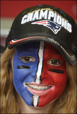 Patriots fan Taylor Willcox, 14, of Palm Desert, Ariz., smiled before the game.