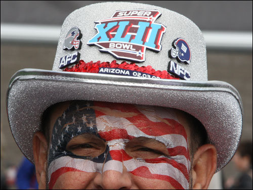 Patriots fan John Cappiello, of Darien, Conn., showed his team spirit before the game.