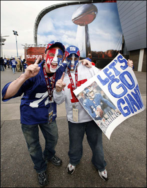 Giants fans cheered outside the stadium before the start of Super Bowl XLII.