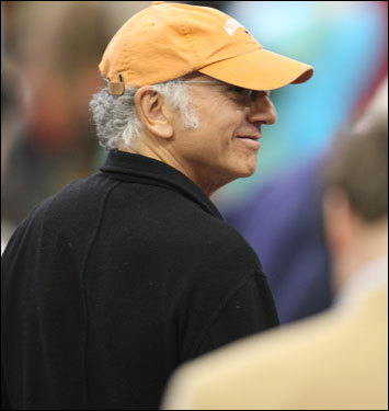 Comedian Larry David was on hand for the festivities at Super Bowl XLII.