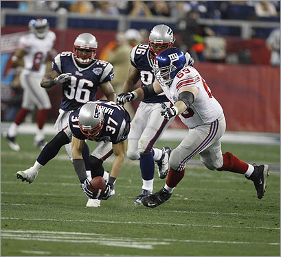 Rodney Harrison (37) picked up a fumble in the first half.