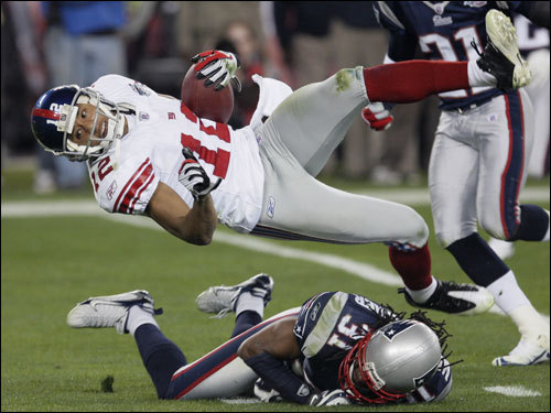 Giants wide-out Steve Smith was upended in the third quarter.