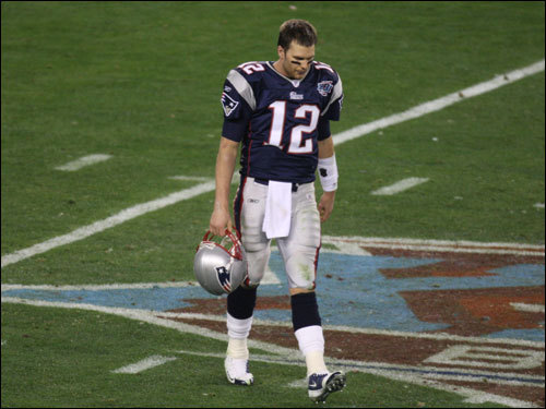 Tom Brady walked off the field after the Patriots' loss.