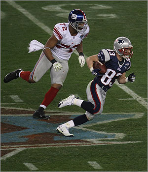 Wide receiver Wes Welker tied a Super Bowl record with 11 catches in the Pats' 17-14 loss to the New York Giants in Super Bowl XLII.