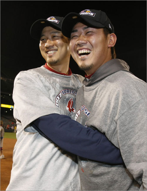 6. Daisuke and Okajima: Still strangers in a strange land or broken-in homeys? By any reasonable measure -- not that there was anything remotely reasonable about the hype on both sides of the Pond -- Daisuke Matsuzaka had a successful first season in the big leagues, winning 15 games, pitching over 200 innings, striking out 201 and winning games in the ALCS and World Series. Hideki Okajima, meanwhile, was the surprise of the season, indispensable as Jonathan Papelbon's setup man. Matsuzaka already has made some noise this winter about doing things more his way, especially in his practice regimen, throwing more on the side than he did last spring. Okajima, meanwhile, showed serious signs of wearing down last season, and the surprise element is gone. But both of them should feel more at ease with their surroundings this season; the Sox dumped their Japanese media liaison in the offseason, though both players will still have translators.