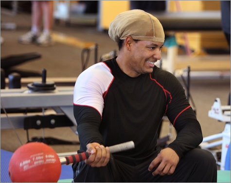 Ramirez isn't using the batting cages yet but he is lifting barbells like a maniac and tossing them like Rambo, one of his nicknames. ''He's a very strong and powerful. He was bench pressing 110 pounds (with one arm) very easily,' says Eto.