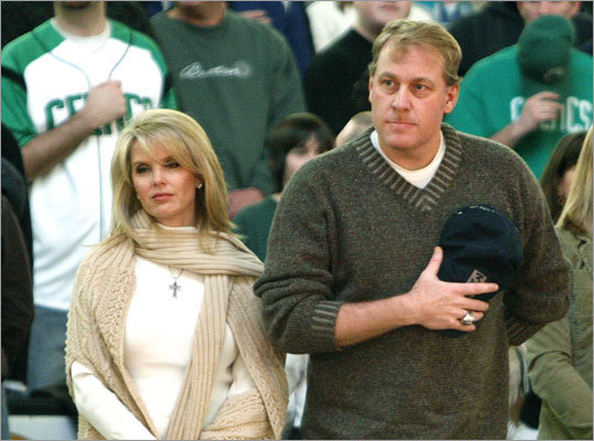 Seen in the crowd at the Celtics-Wizards game at the TD Banknorth Garden on Jan. 14 was Red Sox pitcher Curt Schilling, seated with his wife Shonda as they stand during the National Anthem.