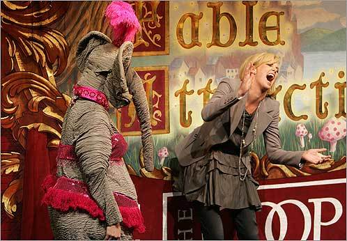 After having been deemed as a triple threat -- a dancer, an actress, and a model -- by an actor playing Keanu Reeves, actress Charlize Theron proved she is indeed an actress after she tried, speaking Afrikaans, to seduce this pink elephant at the New College Theater in Cambridge where she received the Hasty Pudding of the Woman award on Feb. 7.
