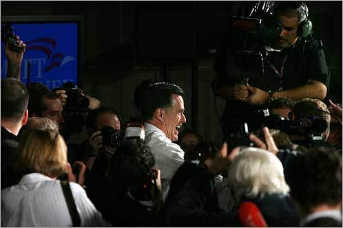 Mitt Romney greeted the crowd at Boston Convention Center on Super Tuesday, Feb. 5.