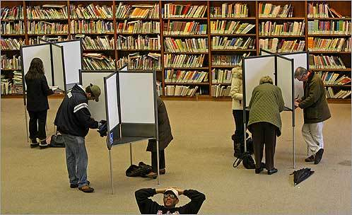 Super Tuesday voting Precinct 7 at the Boston Public Library on Boylston Street had its moments of being busy and not so busy.