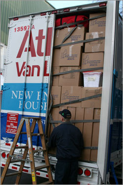 The truck was loaded from bottom-to-top with spring training gear when it arrived at Yawkey Way early this morning.