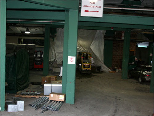 There's still some work to do inside the concourse at Fenway Park before Opening Day in Boston.