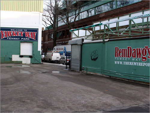 With the Red Sox equipment truck is parked in the background, all was quiet at RemDawg's on a bright Saturday morning in Boston.