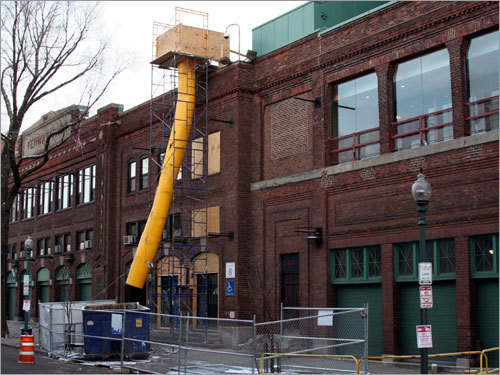 The construction outside Fenway Park was ongoing this morning in preparation for the April 8 home opener.