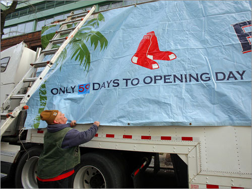 Michael Patti placed a banner on the truck that counts down the days until Opening Day.
