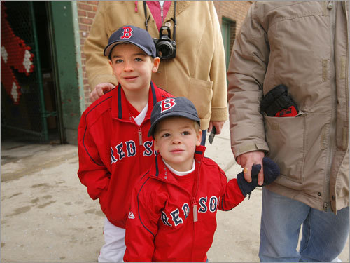 Brothers Sam, 6, and Charlie, 2, McKeown watched the action.