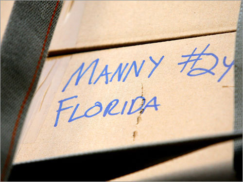 A box labeled for Manny Ramirez was bound for, of course, Florida.