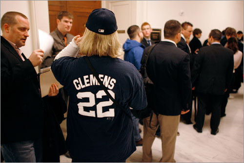 Selivk waits in the long line to get into the Clemens hearing.