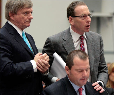 Even one of Clemens's attorneys was given a hard time. At one point, Lanny Breuer (right) stood up from his seat behind Clemens and interrupted a congressman to say that he would like to speak in place of his client. 'I'm sorry, the rules don't provide it,' committee chairman Henry Waxman said.