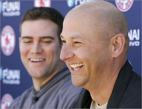 General manager Theo Epstein and skipper Terry Francona shared a laugh with the media on Thursday. Epstein addressed Curt Schilling's injury: 'Curt's here in camp to work hard and rehab and do everything in his power to get back in a position to can contribute and help this team on the field.'